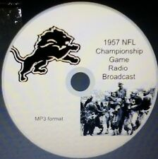 1957 Detriot Lions NFL Championshp Game radio broadcast in MP3 Format