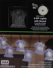 Halloween 8 Battery Operated White RIP Lights with Sound Indoor Use NIB