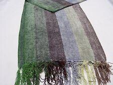 Verde/Azul/marrón rayas - 100% VISCOSA - talla única Bufanda Envolvente