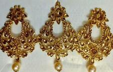 Indian Traditional Kundan Gold Plated Ad Cz Earrings and Maang Tikka Bridal Set