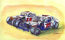 WOODCHOPPER 15 ART PRINT Stock Car Race NASCAR Short Track Bugs Stevens Modified