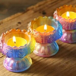 Buddhist Supplies Coloured Glaze Lotus Candle Butter Lamp Candle Holder