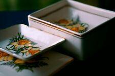 More details for vintage sandland hanley staffordshire set 4 porcelain mini plates in trinket box