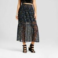 Xhilaration Women's Woven Maxi Skirt - Black- NWT- FREE SHIP