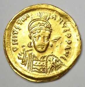 Byzantine Justinian I AV Solidus Angel Gold Coin 527-565 AD - Good VF