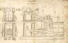 """Antique Marine Moteur à Vapeur Gravure de Courrier Paquet """"URGENT"""" - navire 1842"""