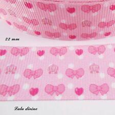 vendu au mètre Gros Noeud Pois Dentelle Vieux Rose RUBAN GROS GRAIN ** 22 mm