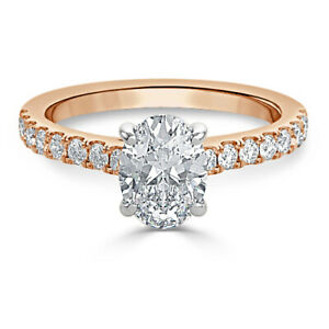 1.30 Ct Moissanite Oval Cut Rose Gold Valentine Ring 14K Solitaire Girl ring