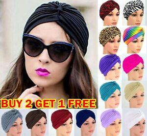 Turban Cap Hijab Headband Bandana Wrap Headband Band Plain Hat Hair Loss Chemo