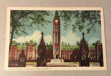 CANADIAN HOUSES OF PARLIAMENT, OTTAWA ON vintage unused white-border postcard