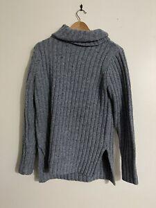 Rusty Size 8 Blue Grey Roll Neck Sweater / Jumper / Turtleneck