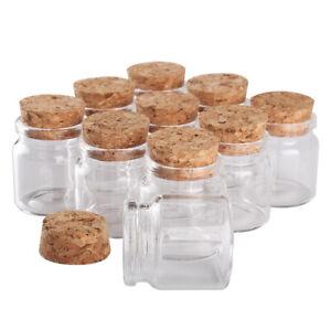 15pcs 20ml 37x40mm Transparent Glass Spice Bottles Jars with Cork Stopper