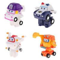 4PCS Super Wings Transforming Toy ZOEY KJM Astro Scoop Robot to Vehicles Set