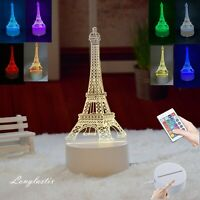 Eiffel Tower 3D illusion Visual Night Light LED Desk Lamp Bedroom Decor w/Remote