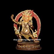 Tibet Buddhism Phurba Yum-yab Mahakala Buddha Bronze 24 Gold Statue 23cm