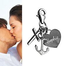 Charm Anhänger Glaube Liebe Hoffnung mit Gravur -925er Sterling Silber- Neu