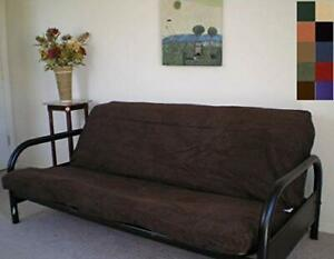 OctoRose Full Size Brown Bonded Classic Soft Micro Suede Futon Cover(Cover Only,