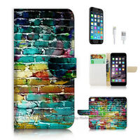 ( For iPhone 7 ) Wallet Case Cover P2054 Colourful Wall