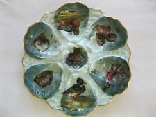 Rare & Exquisite Haviland Limoges Porcelain Oyster Plate With Wild Ducks, Fish A
