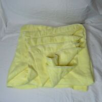 Vintage Acrylic Nylon Trim Smooth Blanket Double 75 x 86 Made in USA Yellow