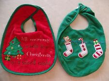 2 baby boys girls unisex CHRISTMAS BIBS LOT large NICE QUALITY! silent night