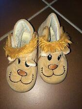 Jungen Schuhe Hausschuhe Puschen Klett braun Löwe Gr. 23 von Bobbi Shoes