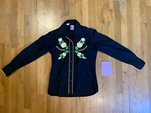 Vintage Karman Western Floral Embroidered Black Snap Button Up Womens Shirt Sz 8
