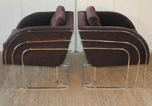 Pair Art Deco Chrome and Upholstered Club Lounge Chairs