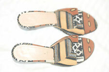 Casadei Tribal Printed Canvas Slides Kitten Heels Shoes Sandals Size 6 Italy
