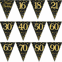 12FT 3.9M Birthday Party Sparkling Bunting Black Gold Fizz Flag Banner Age Ages
