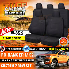 TUFF HD BLACK CANVAS FORD PX RANGER MK2 Dual Cab Seat Covers 2ROW XLT 6/2015-18