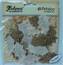 BURLAP Natural & Ivory Jute Fabric Mix - 24 LEAVES 2 x 4cm Petaloo