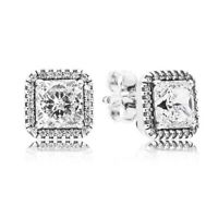 NEW AUTHENTIC PANDORA SILVER STUD EARRINGS TIMELESS ELEGANCE 290591CZ UK GIFT