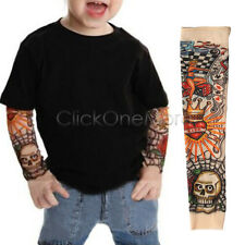2 Pcs Fake Nylon Kid Temporary Tattoo Sleeves Arm Stockings for Cool Child