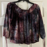 American Eagle Outfitters Velvet Off The Shoulder Top-Berry Tie Dye M MEDIUM