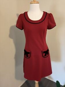 Revival Red Wine Short Sleeve Dress with Black Velvet Bows and Piping Size 10 Li