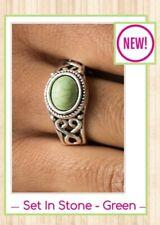 Paparazzi jewelry ring (Green)  ♡ Set In Stone