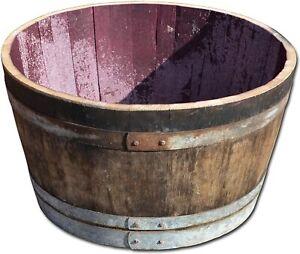LARGE OAK WINE BARREL Shrub / Bush Planter / Garden Tub / Plant Pot