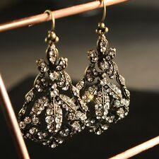 Earring Gold Crystal Hollow Pear Big Drop Pendant Vintage Baroque X8