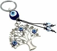 Blue Evil Eye Wish Tree key chain ring amulet for protection