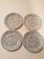"""Carnival Spatter Blue Black Stoneware Japan Saucers Set of 4 Vintage 6.25"""""""