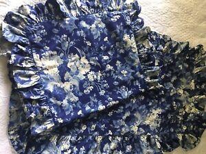 Ralph Lauren Blue White Staffordshire Ruffled Floral Standard Shams Set (2) EUC