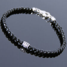 Men's Women 3mm Black Onyx Sterling Silver OM Bead Bracelet DIY-KAREN 717