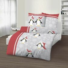 4 tlg Bettwäsche 135x200 cm Winter Pinguine rot Fein Biber Baumwolle B-Ware Set
