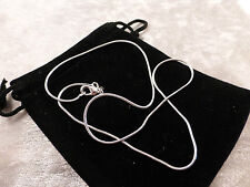 Silver Toned Solid Snake Chain 18 inch Necklace + Free Gift Bag