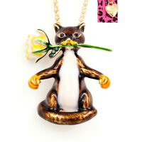 Betsey Johnson Enamel Cat Rose Flower Pendant Sweater Necklace/Brooch Pin