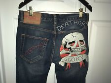 Ed Hardy Men's Jeans Size 30x32 2010 SKULL Dark Denim Death Or Glory