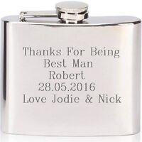 Engraved Hip Flask 6oz Usher Groom Best Man Gift Birthday Wedding Personalised