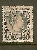 "MONACO STAMP TIMBRE N°7 ""PRINCE CHARLES III 40c BLEU 1885"" NEUF xx TB SIGNE"