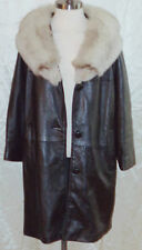Vintage 60s / 70s Silver FOX FUR collar Black Leather Princess Coat Cape Jacket